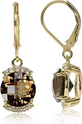 925 Sterling Silver Rhodium-plated Smoky Quartz Teardrop Dangle Earrings