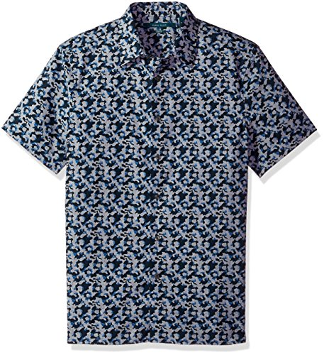 Perry Ellis Men's Short Sleeve Abstract Floral PrintShirt, Dark Sapphire-4CHW7083, Extra Extra Large