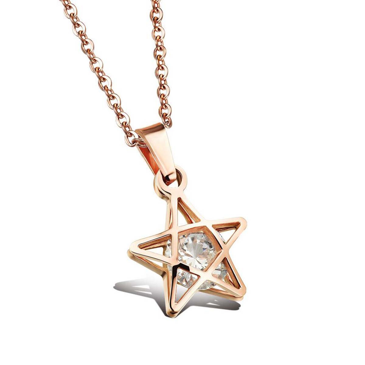 OurJewellery Womens Stainless Steel Small Stars Pendant Love Collarbone Necklace Valentine's Day Gift (Rose Gold)
