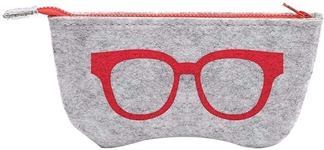 Eubell Portable Eyeglasses Bag Case Soft Felt Zipper Glasses Purse Bag Makeup Storage Pouch,1Pc