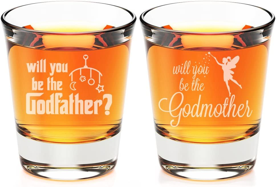 Will You Be My Godfather and Godmother Engraved Fluted Shot Glass