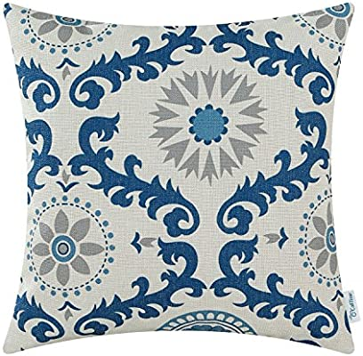 Awe Inspiring Calitime Canvas Throw Pillow Cover Case For Couch Sofa Home Decoration Three Tone Dahlia Floral Compass Geometric 18 X 18 Inches Blue Gray Gmtry Best Dining Table And Chair Ideas Images Gmtryco
