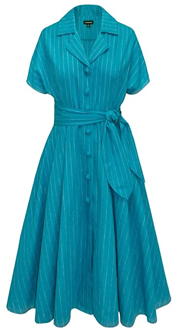 Plus Size Retro Dresses Pinstripe Button Dress $171.35 AT vintagedancer.com