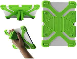 """CHINFAI Universal Case for 9.7 10.1 10.5 11 Inch Tablet, Universal Silicone Tablet Case Protective Cover for 9"""" 10"""" Touchscreen Tablet with Convertible Stand (Green)"""