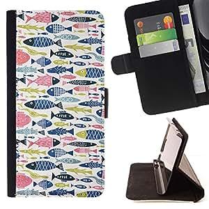 For HTC DESIRE 816 Case , Fish Rosa Azul Verde Patrón de Pesca- la tarjeta de Crédito Slots PU Funda de cuero Monedero caso cubierta de piel