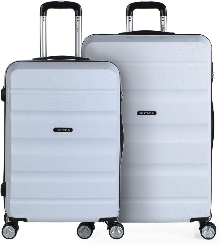 ITACA - Juego de Dos Maletas de Viaje Mediana y Grande T71616, Color Blanco