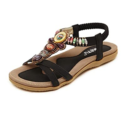 LANDFOX Böhmische Flache Sandalen Damen Sommer Sandalen mit Strass Perlen Böhmen Strand Schuhe Freizeit Flach Sandalette Größe 36 42 (41 EU, Schwarz)