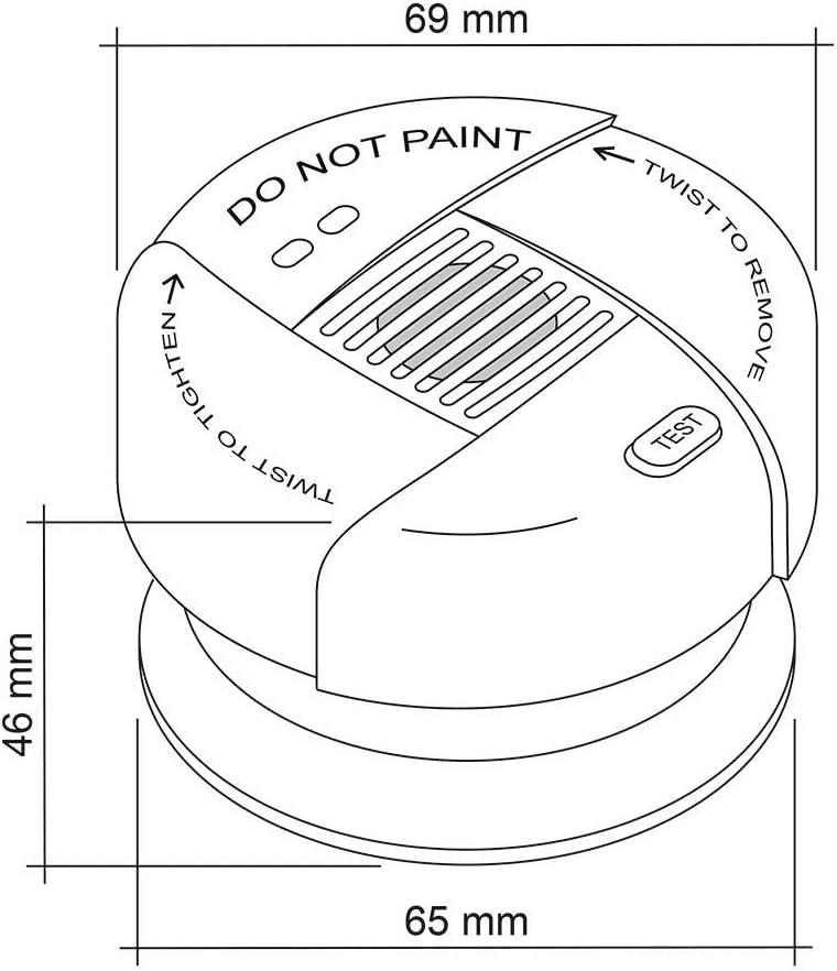 /Ø 69x46mm DIN EN 14604 fotoel/éctrico Mudo VDS 3131 Bater/ía de Litio de Larga duraci/ón SEBSON 4X Mini Detector de Humo 10 a/ños