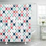 Pink and Purple Polka Dot Shower Curtain Breezat Shower Curtain Colorful Circles Fashionable Geometric in Colors Pink Navy Blue Mint Coral Red Light Grey White Simple Waterproof Polyester Fabric 72 x 78 Inches Set with Hooks