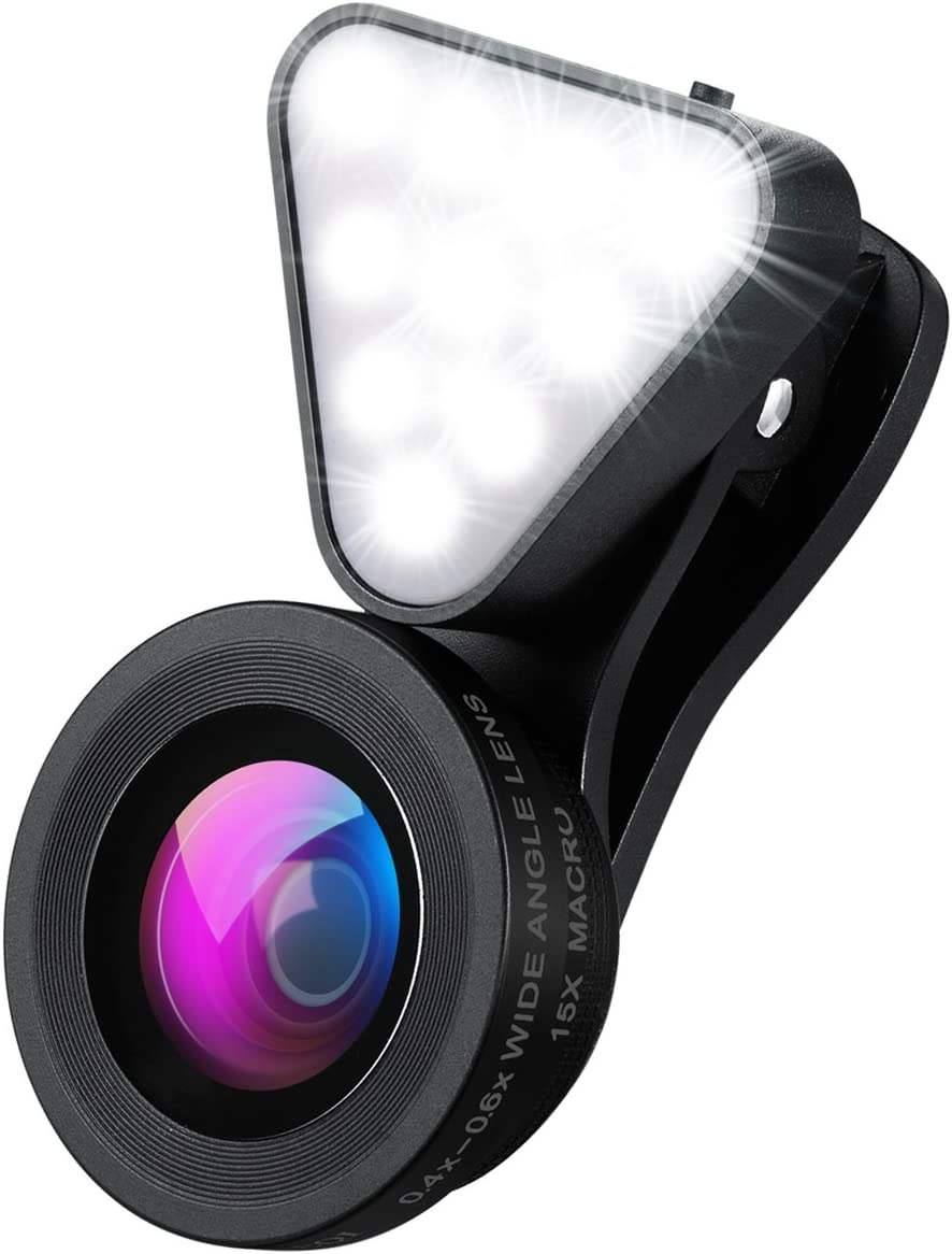 AMIR Cell Phone Lens with Beauty LED Flash Light, 15X Macro Lens, 0.4X 0.6X Wide Angle Lens, 3 Adjustable Brightness Fill Light, for Make Up Live Broadcast, Yotube, Video Recording, Vlog(Black)