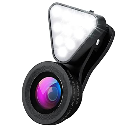 AMIR Phone Camera Lens, Rechargeable Selfie Ring Light, 15X Macro Lens &  Wide Angle Lens, 3 Adjustable Brightness Fill Light for iPhone X, On-Camera