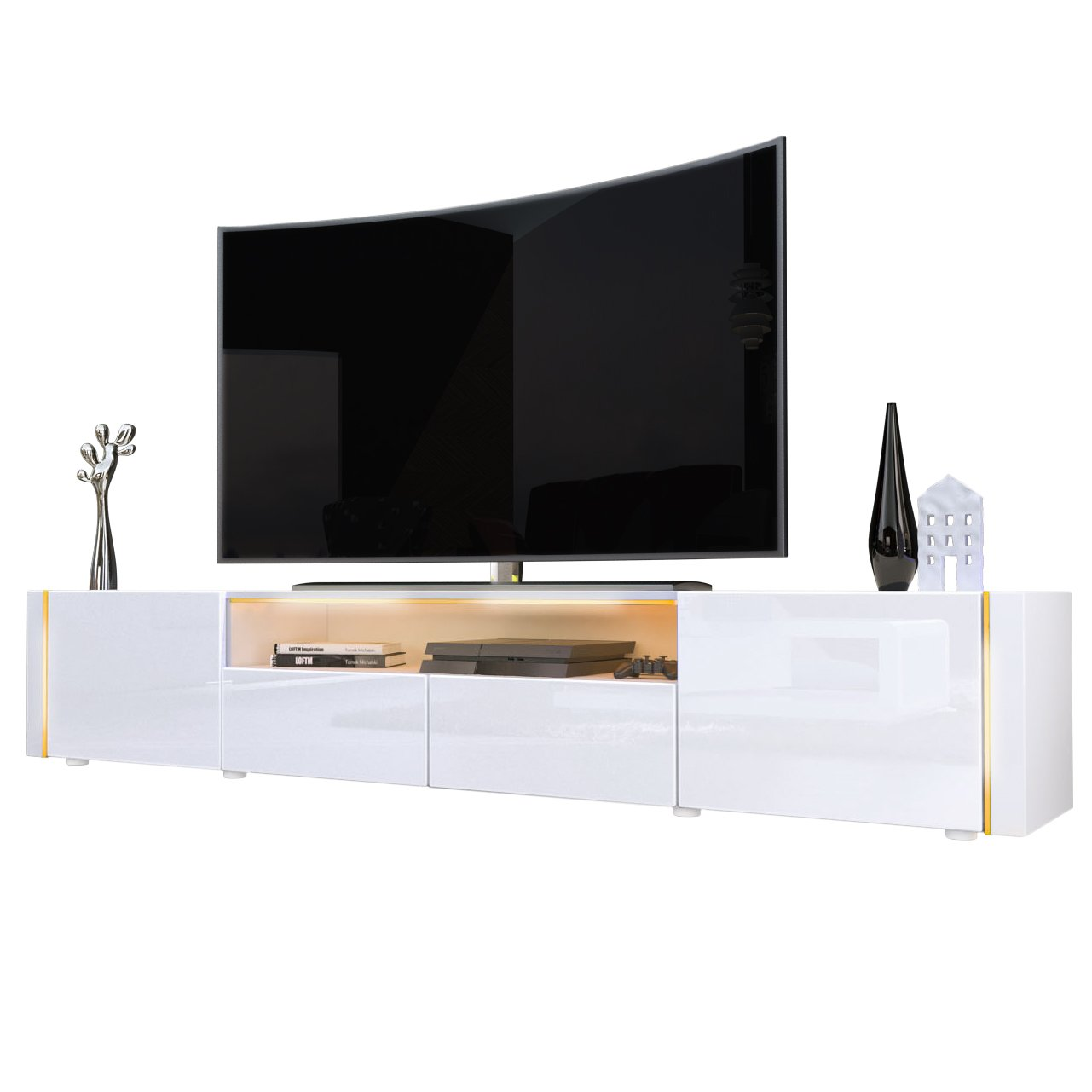 Tv Stand Unit Marino V2 Carcass In White High Gloss Amazon Co Uk  # Groupon Meuble Tv Led