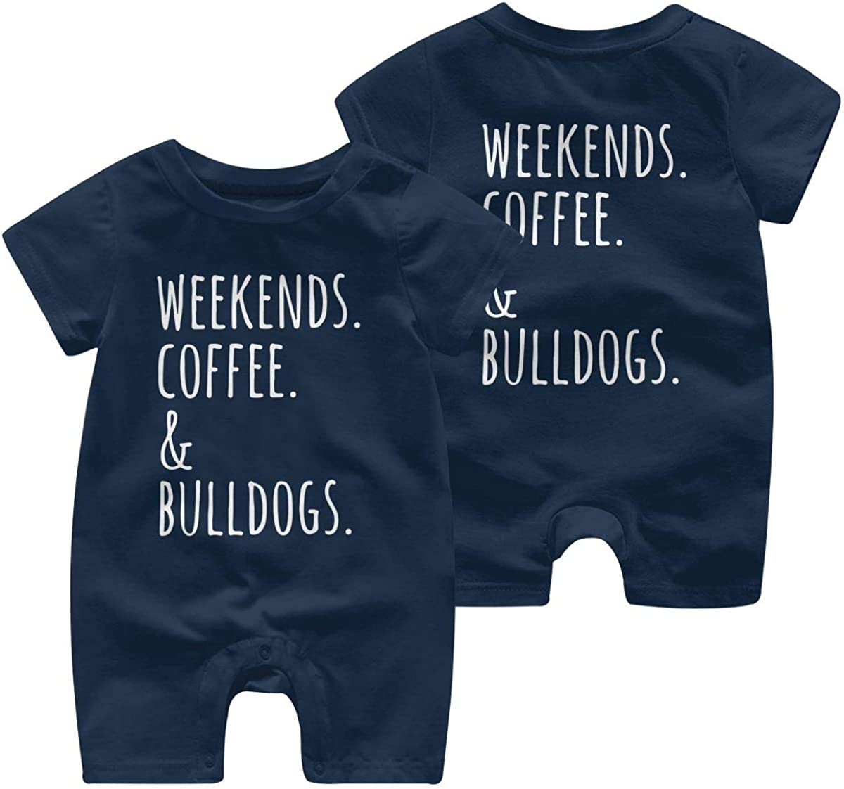 Mri-le1 Baby Boy Jumpsuit Weekends Coffee English Bulldog Baby Rompers