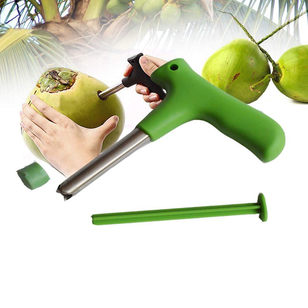 Verde BESTONZON Cocco di Apertura in Acciaio Inox Coconut Opener Strumento Coconut Apertura Trapano Produzione di Cannuccia Fori