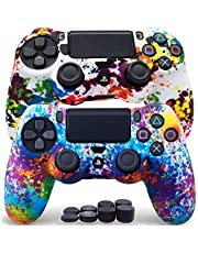 Sofunii 2pcs Camo Skin for PS4 Controller, Anti-Slip Silicone Protector Cover Shell Case with 8 Thumb Grip Caps, Compatible with PlaySation 4 Slim/Pro Controller DualShock 4 Wireless/Wired Gamepad (Camo)