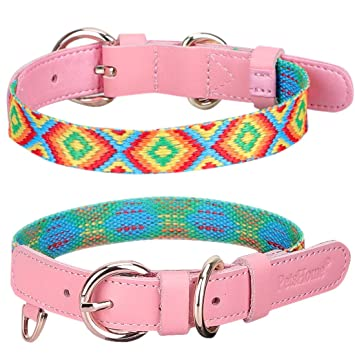 PetsHome Dog Collar Cat Collar Premium PU Leather with Bling