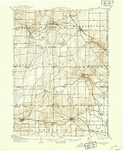 YellowMaps Garrettsville OH topo map, 1:62500 scale, 15 X 15 Minute, Historical, 1907, updated 1943, 20.8 x 17 IN - (Auburn Corner Maple)