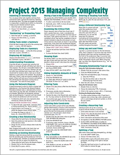 microsoft project 2013 quick reference guide managing complexity pdf