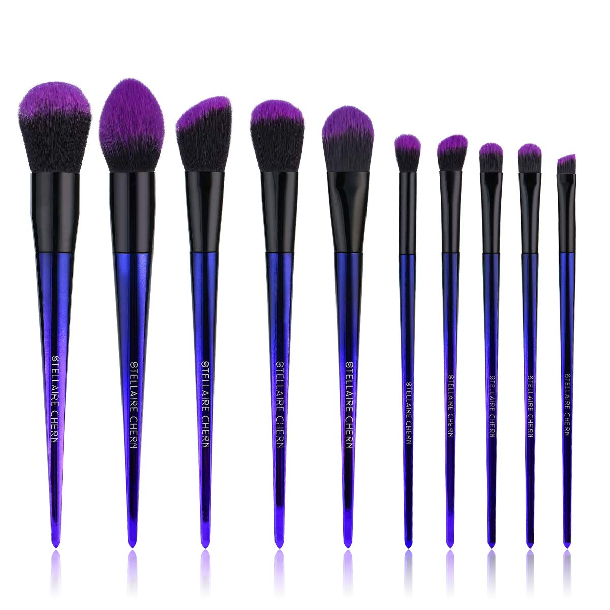 Stellaire Chern Makeup brush set, 10 Pcs Premium Synthetic Cosmetic Brushes, Foundation Blush Power Eye Shadow Make Up Brushes Kit - Purple & Black