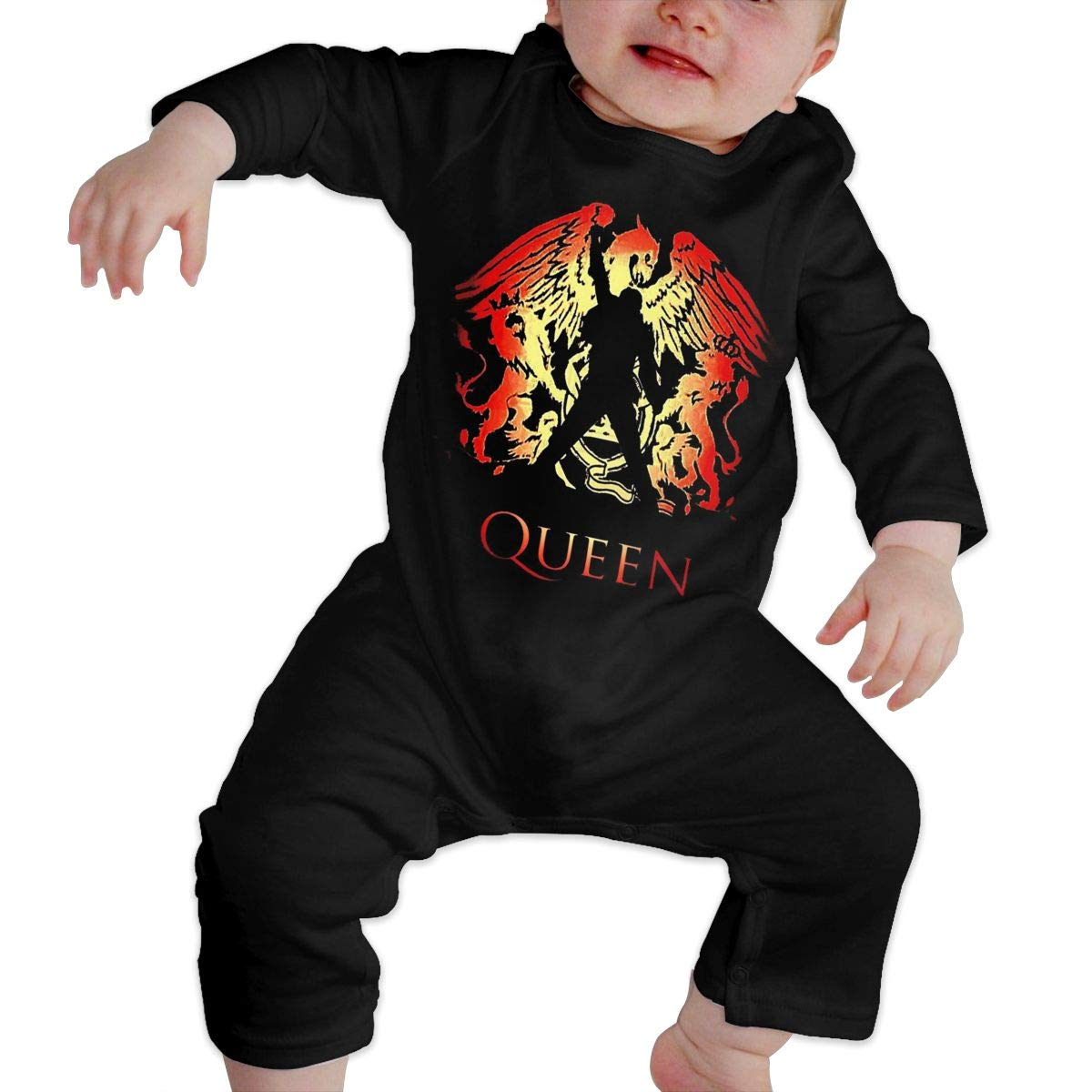 SOFIEYA Queen Band Kids Baby Unisex Cotton Cute Long Sleeve Hooded Romper Jumpsuit Baby Crawler Clothes Black