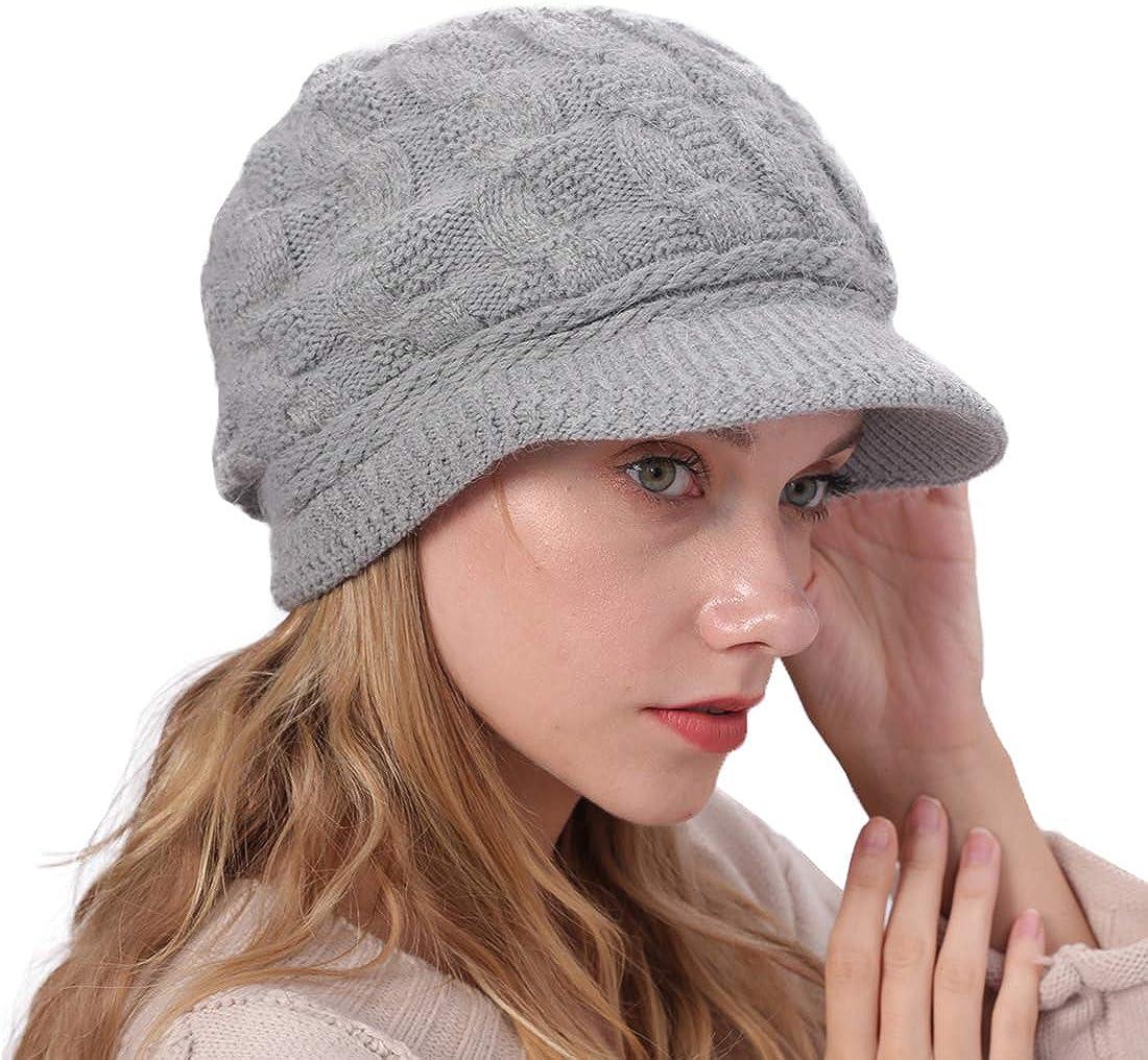 YONKINY Gorro de Punto Cálido Invierno Boina de Mujeres Niña Crochet Elegante Sombrero de Vendedor de Periódicos Suave Gorro Beanie de Lana con Visera para Nieve Esquí