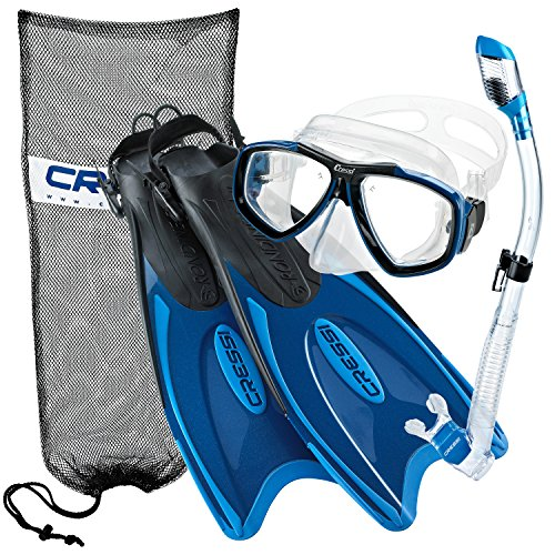 Cressi Palau Long Fins, Focus Mask, Dry Snorkel, Snorkeling Gear Package, Blue-Large/X-Large