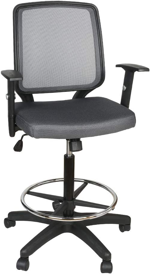 Office Chair,Armchair Fabric Seat,Swivel Chair with Foot Rest,Mesh Back,Padded Seat Fabric Surface,Home/Office Chair Comfort Foot-Ring,Height Adjustable,Mid Back Mesh Task Chair,by U-Eway (Gray)