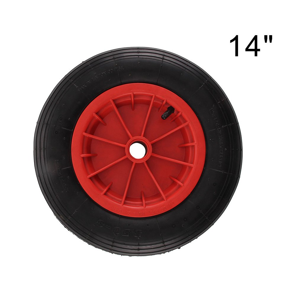 Shoze 14 Red Universal Pneumatic Inflatable Wheelbarrow Wheel Tyre 4.30//4.00-8 with Axle Fittings