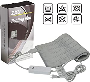 """ZXU QH 12"""" X 24"""" Fast Heat Electric Heating Pad/Soft Heat Therapy Wrap for Moist and Dry Heating-Pain/Cramps and Muscle Soreness Relief, Machine Washable with Auto Off"""