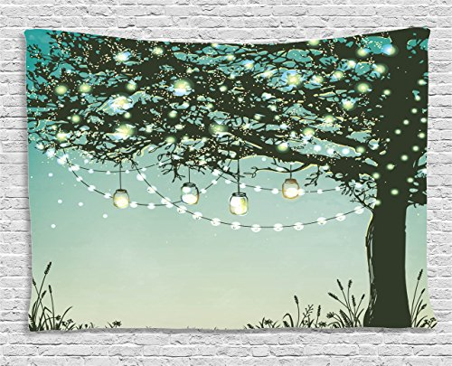 Ambesonne Magic Home Decor Collection, Lanterns and Lamps Hanging on A Tree Branch Decorative Backyard Party Illustration, Bedroom Living Room Dorm Wall Hanging Tapestry, 60 X 40 Inches, Green Yellow Collection Hanging Lantern