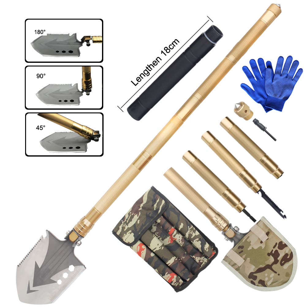 Sunlightam Military Folding Shovel Multitool - Heavy Duty Compact Multitool Military Survival Shovel for Camping Backpacking Hiking Car Emergency with Carrying Case 36'' (Gold(Extension Rod))