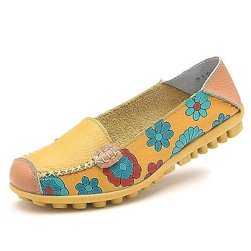 Zapatos Mocasines de Cuero Pisos cómodas y Apliques en Guisantes Zapatos Mujeres Zapatos para Mujer: Amazon.es: Zapatos y complementos