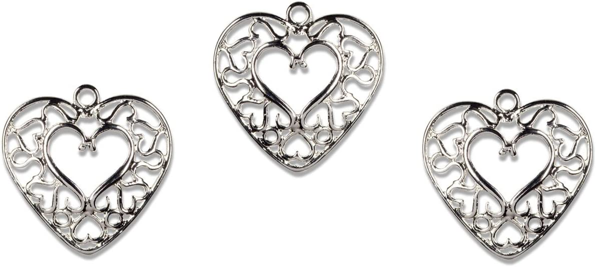 Cousin Plated Silver Elegance 3-Piece Silver Plate Heart Charm