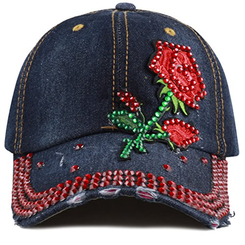 The Hat Depot 200 Bling Jewel Rhinestone Butterfly & Rose Patch Washed Denim Baseball Cap (12. Rose Stone-4)