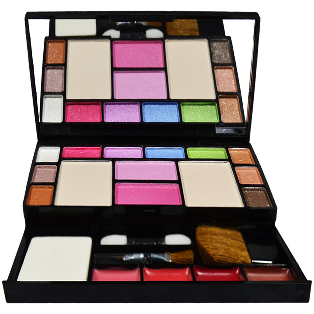 TYA Fashion Makeup Kit - 10 Eye Shadows Palette 4 Lip Colour 2 Compact Powders 2
