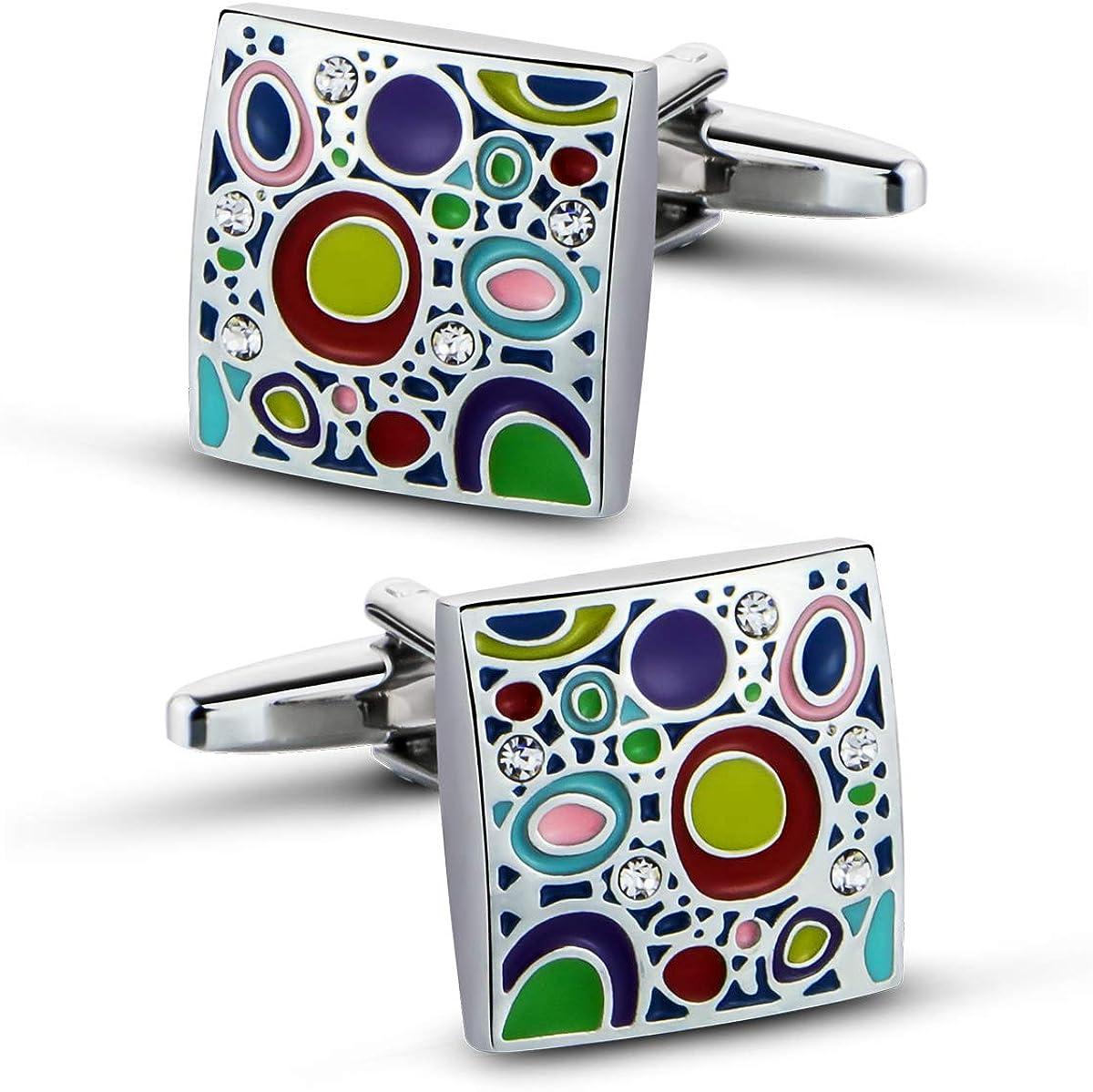 VIILOCK Silver Plated Cufflinks for Men Colorful Rainbow Crystal Cuff Links Wedding Gift
