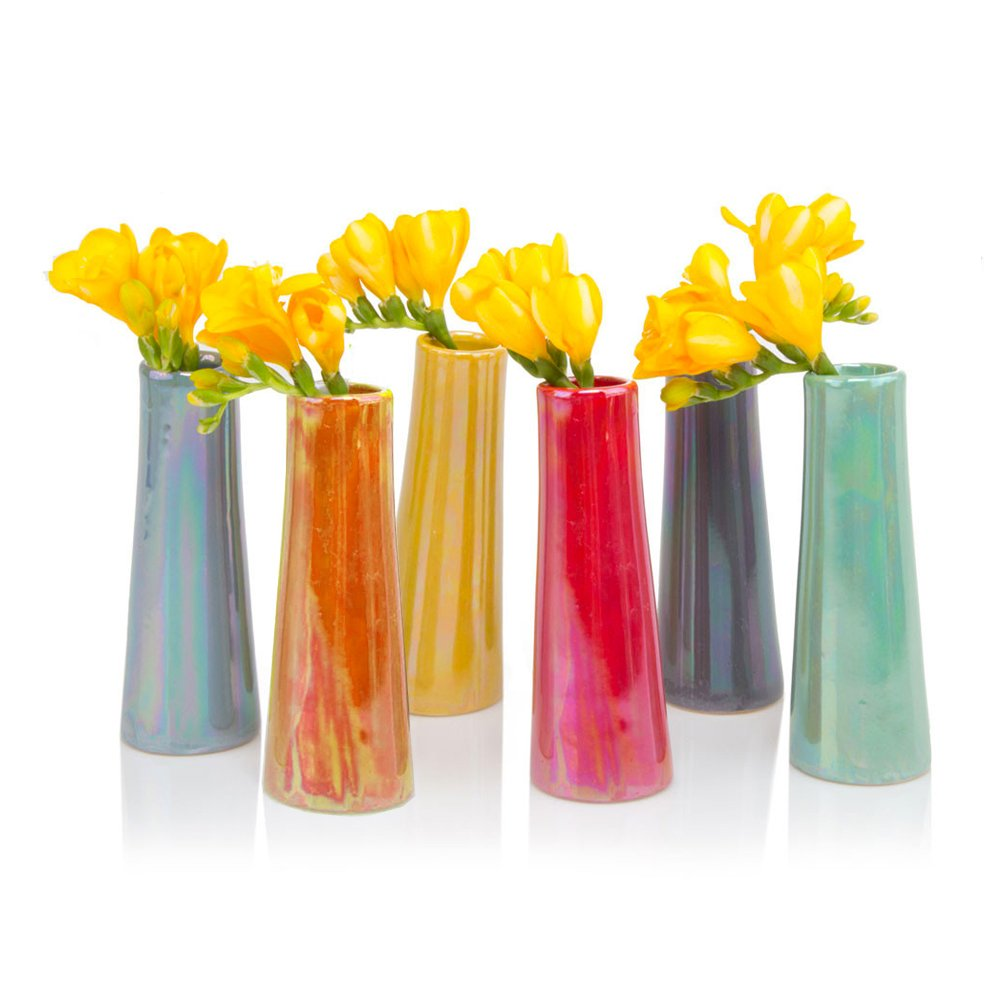 Chive Galaxy, Small Cylinder Ceramic Bud Flower Vase, Unique Single Flower Decorative Floral Vase for Home Decor, Bulk Set of 6 - Assortment Yellow, Green, Red, Blue, Orange