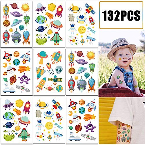 132PCS Outer Space Party Favors Tattoos Temporary for Kids - Solar System Astronaut Planets Baby Shower/Birthday Party Supplies Decorations Goodie Bag Stuffers(12 Sheets)]()