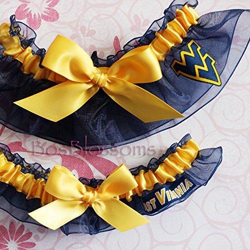 (Customizable - WVU West Virginia Mountaineers fabric handmade into bridal prom navy organza wedding garter)