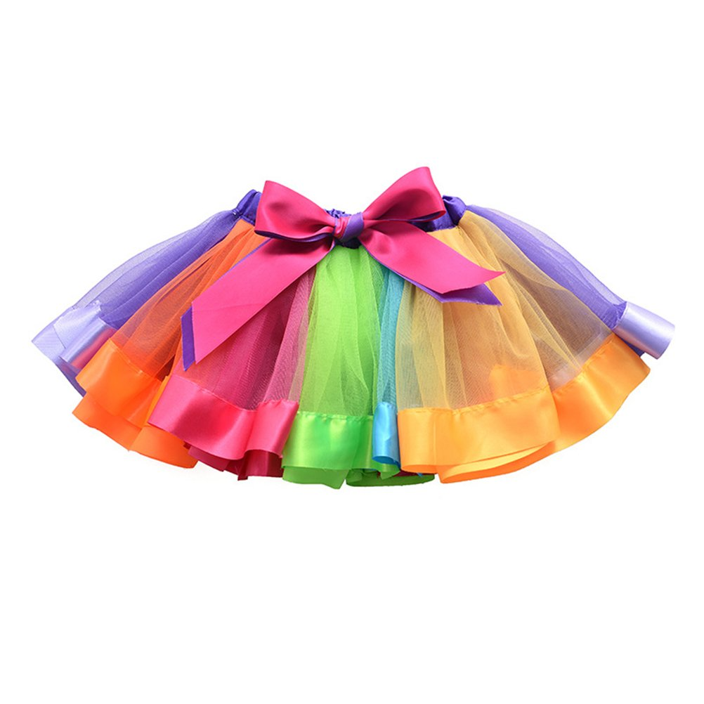 LUOEM Girls Rainbow Tutu Skirt Ruffle Tiered Dance Dress Party Supplies for Girls 4-6 Years Old 2GUZ04JJ41T7215BB4NPKO