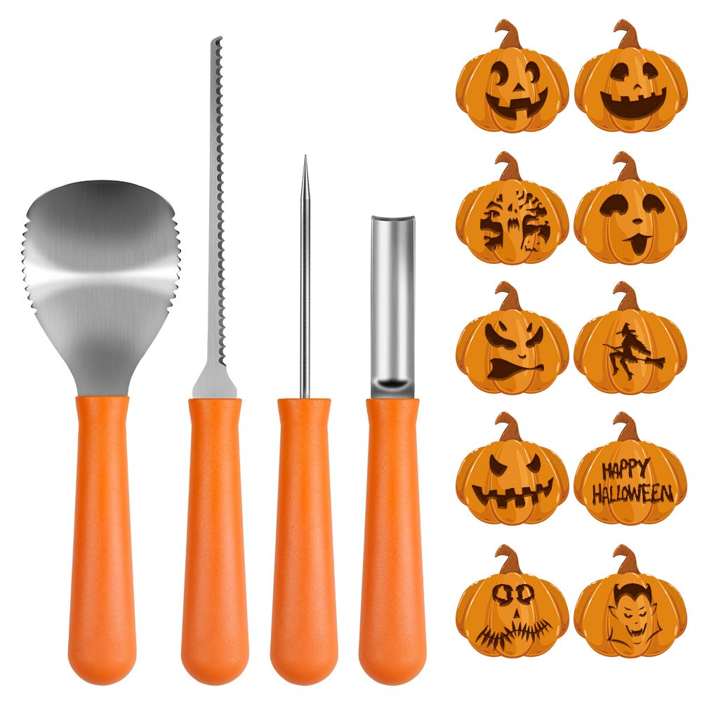 Pumpkin Carving Kit, BIG HOUSE Professional Halloween Jack-O-Lanterns Stainless Steel Carving Tools Set with 10Pcs Carving Templates, Scraper, Saw, Drill and Etching(4Pieces, Yellow)