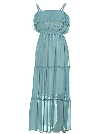3fd8a87f82b Anna-Kaci Womens Adjustable Boho Flowy Pastel Green Sleeveless Maxi Dress