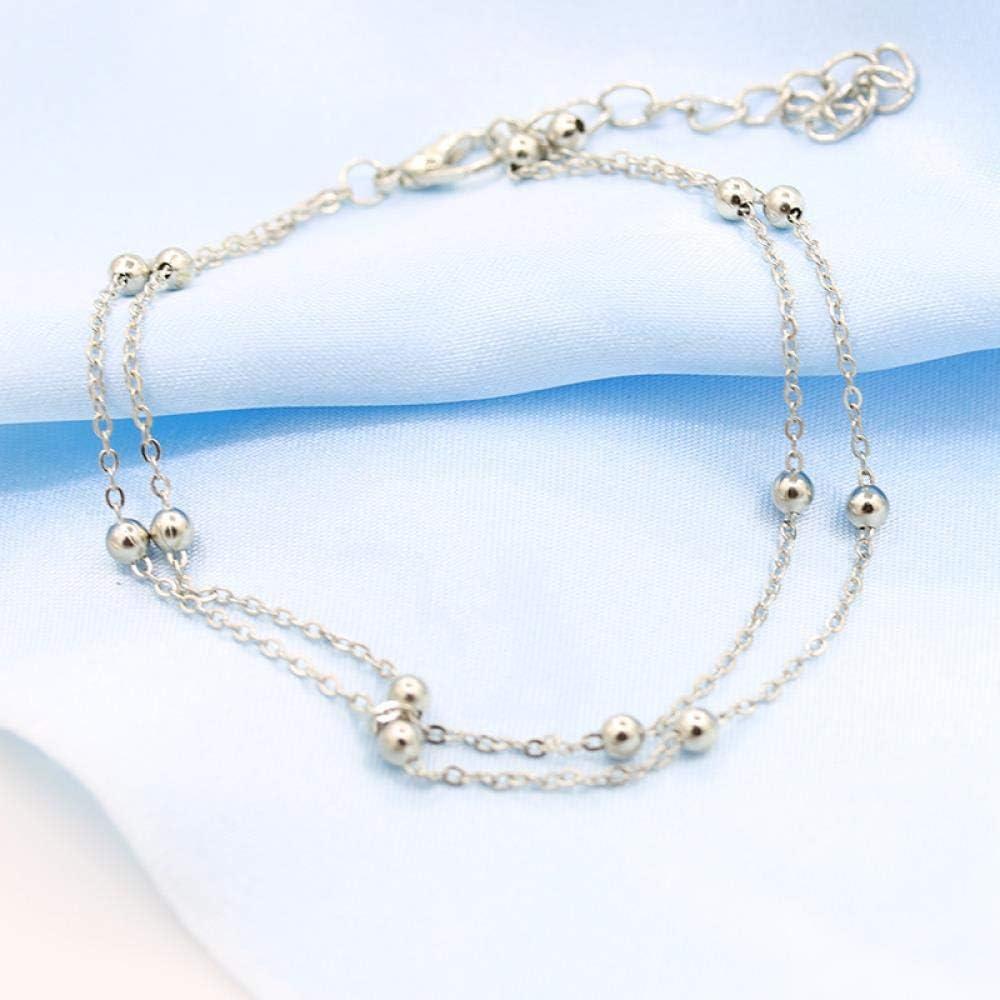 Argent Bracelet De Cheville /À Double Cha/îne Bijoux De Cheville Pour Femme