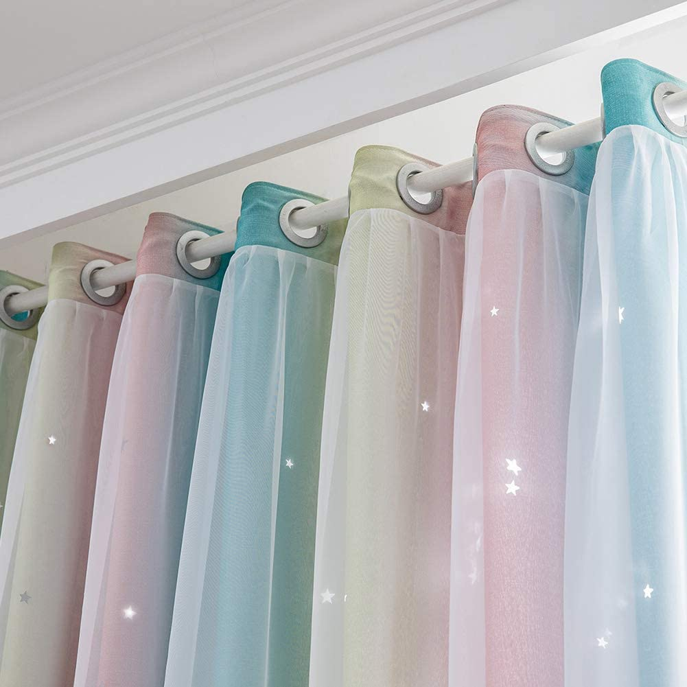 Rainbow Stripe Star Cut-Out Romantic Curtains for Kids Girls Bedroom Living Room Colorful Double Layer Star Cut Out Stripe Window Curtains 1 Panel Gray, 53Wx106L ZEENEEK Curtains Girls Bedroom