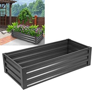 POCREATION Elevated Planter Box, Galvanized Raised Large Vegetable Flower Bed Kit for Vegetables Flowers and Plants,49.2 x 22.4 x 12.2in