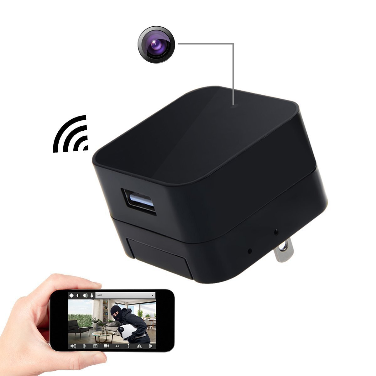 Spy Camera Wireless Hidden Cam Corprit Hd 1080p Wifi Security Wire Diagram Free Download Wiring Schematic Usb Charger Adapter Mini Home Photo