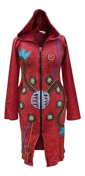 Shopoholic Moda Mujer Hippy Festival Largo Fangbanger Boho Sudadera con Capucha para Hombre Rojo Rojo (