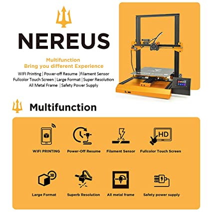 TEVO Nereus WiFi 3D Printer Preassembled 3 2'' LCD Printer