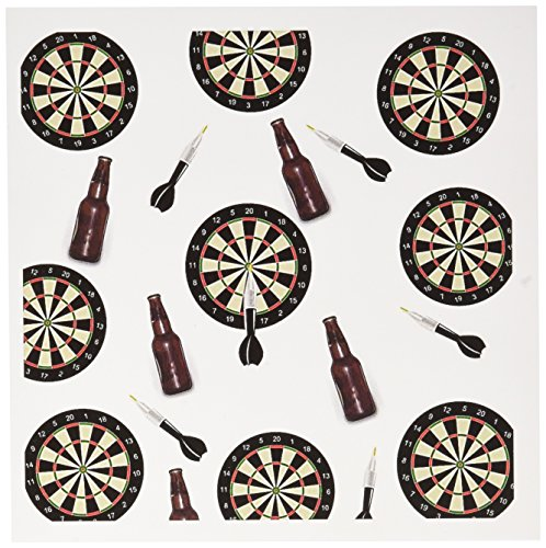 Price comparison product image 3dRose Set of 12 Greeting Cards, Print of Cute Repeat Pattern of Dart Board and Beer (gc_182537_2)