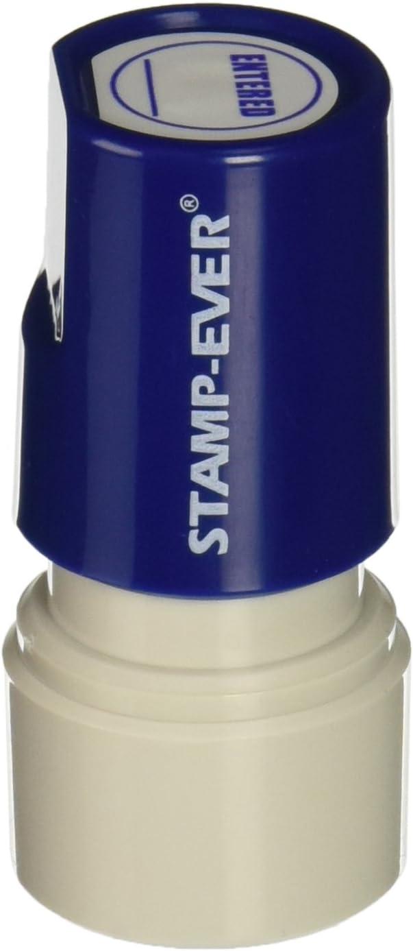 Stamp-Ever Pre-Inked Round Message Stamp, Entered, Stamp Impression Size: 3/4-Inch Diameter, Blue (5973)